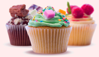 Selection of assorted cupcakes