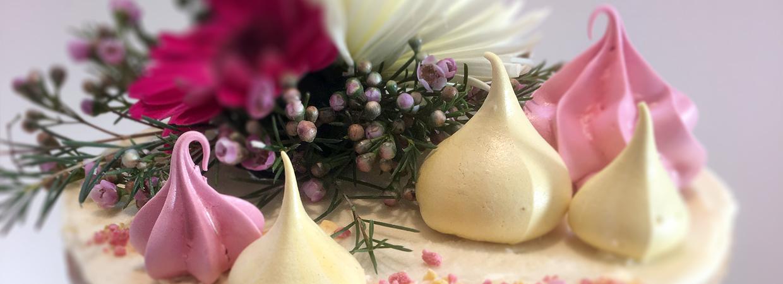 Close up of decorated wedding cake